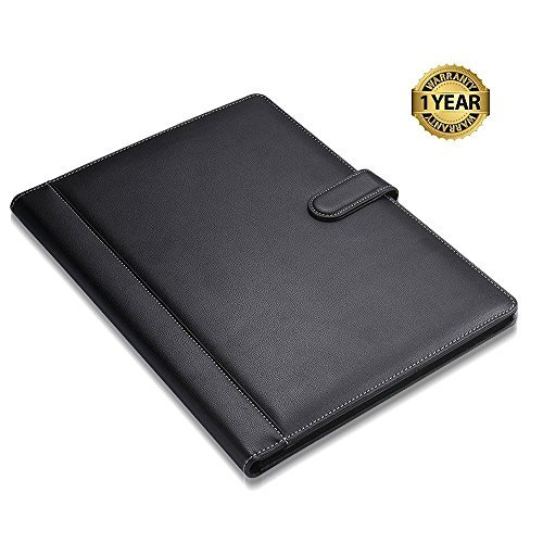 Padfolio Business/Resume Portfolio, AHGXG Leather Folder with Clipboard Document Organizer with Paper Clip, Legal Writing Pad, Pen Holder, Magnetic Closure and Pockets Contrast Stitch for Interview by AHGXG (Image #2)