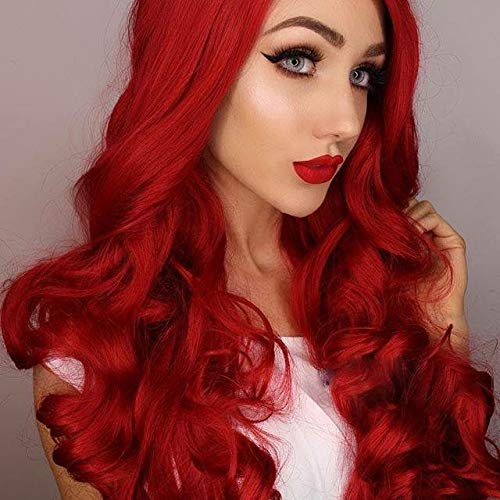 Imstyle Red Lace Front Wigs Long Fashion Wavy Synthetic Wig For Women Cosplay Glueless Heat Resistant Hair With Natural Hairline Part Freely 26 -