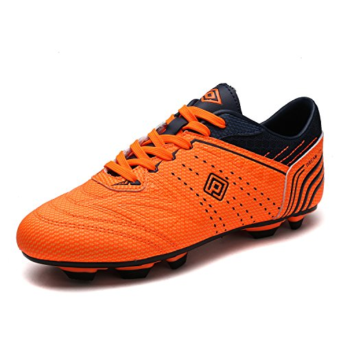 Mens Football Cleat (Dream Pairs 160859 Men's Sport Flexible Athletic Lace Up Light Weight Outdoor Cleats Football Soccer Shoes ORANGE NAVY SIZE 8)