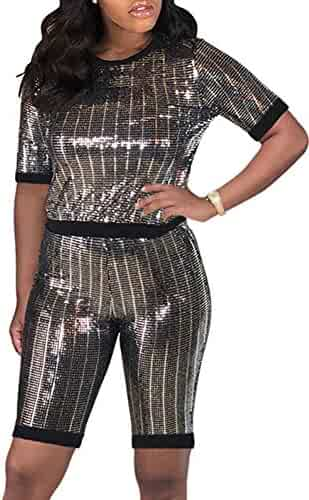 54a72c8f ECHOINE Womens Sexy Bodycon Glitter Jumpsuit - Sparkly See Through  Drawstring One Piece Romper Playsuit Clubwear