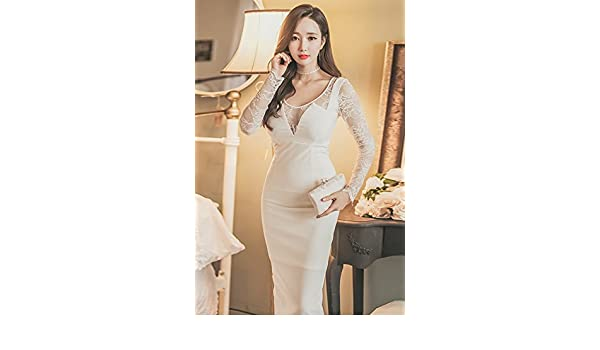 e94a7a8963 Amazon.com   White lace perspective sexy nightclub ladies wind low-cut  evening gown round neck long-sleeved dress and long sections for women girl    Beauty