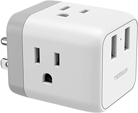 Amazon.com: Multi Plug 3 Outlet Extender con 2 USB cargador ...
