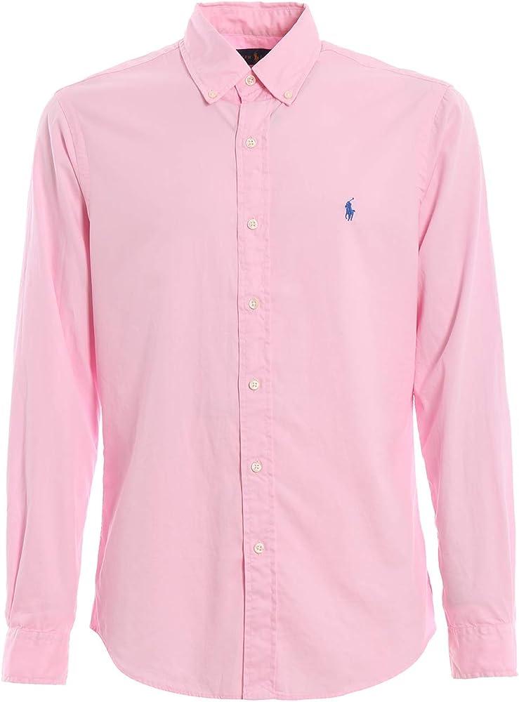 Ralph Lauren - Camisa para Hombre, diseño de Sarga, Color Rosa Rosa S: Amazon.es: Ropa y accesorios