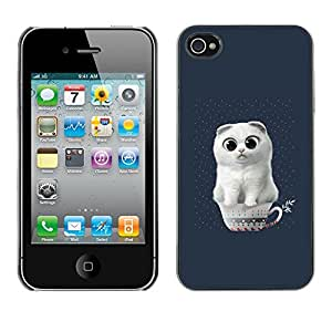 SoulCase / Apple Iphone 4 / 4S / Cute White Cat in Cup / Delgado Negro Plástico caso cubierta Shell Armor Funda Case Cover