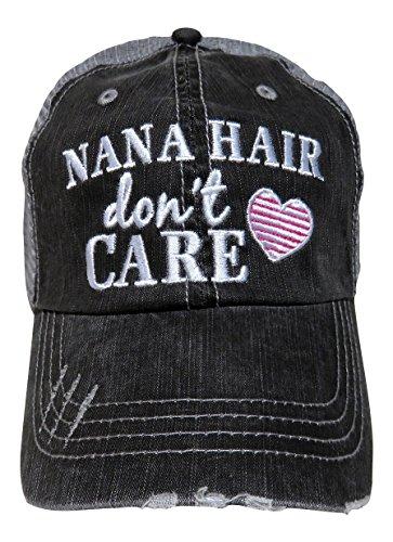 Embroidered Nana Hair Don't Care Grey Trucker Baseball Cap (Pink - Nana Trucker Hat