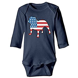 DX&PPF English Bulldog American Flag Funny Toddler Baby Long Sleeve Baby's Rompers Jumpsuit Babysuit