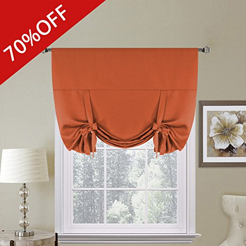H.Versailtex Thermal Insulated Blackout Kitchen Curtains Tie Up Window Shades (Rod Pocket Panel) - 42