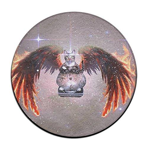 Non-Slip Round Bathroom Mats,60cm, Entry Way Shoes Scraper Patio Rug Dirt Debris Mud Trapper -Angel Cats