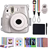 HDE Fujifilm Instax Mini 9 or 8/8+ Camera Case Accessories Box Kit Includes Hard Shell Mini 9 Case + Strap/Fuji Album/Selfie Lens/Hanging + Creative Frames/Border Stickers/Pen & More (Glitter)