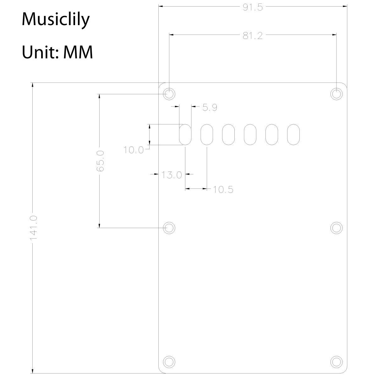 Musiclily Guitar Back Plate Cavity Cover Pickguard for China Made Squier Style, 1Ply White SHH-01