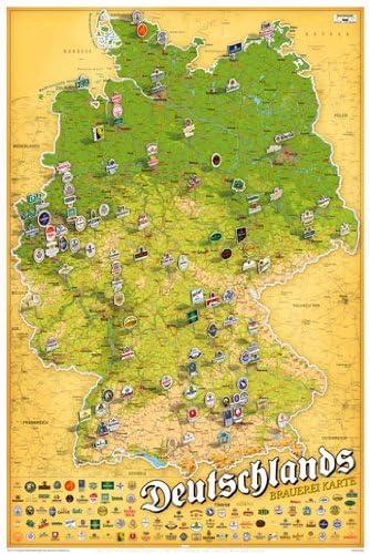 brauereien in deutschland karte Poster Karte der Bier Brauereien in Deutschland   Größe 61 x 91,5