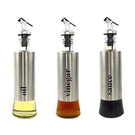 Dispensador de aceite y vinagre de acero inoxidable a prueba de ...