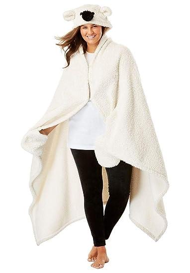 db0a993f81a160 Dreams & Co. Women's Plus Size Animal Hood Sherpa Wrap at Amazon Women's  Clothing store: