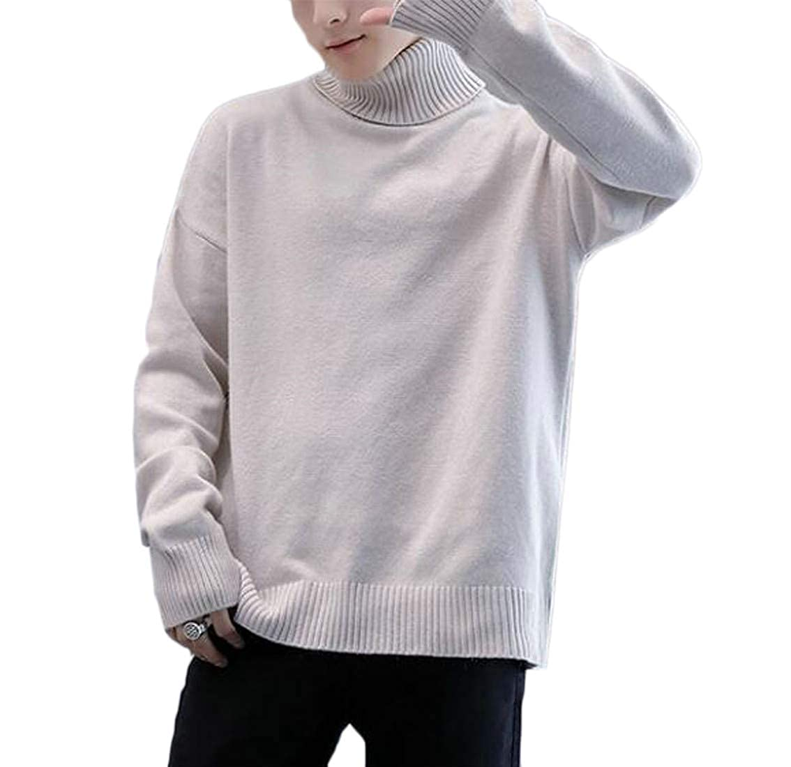 Macondoo Mens Knitted Solid Stylish Jumper Turtle Neck Pullover Sweaters