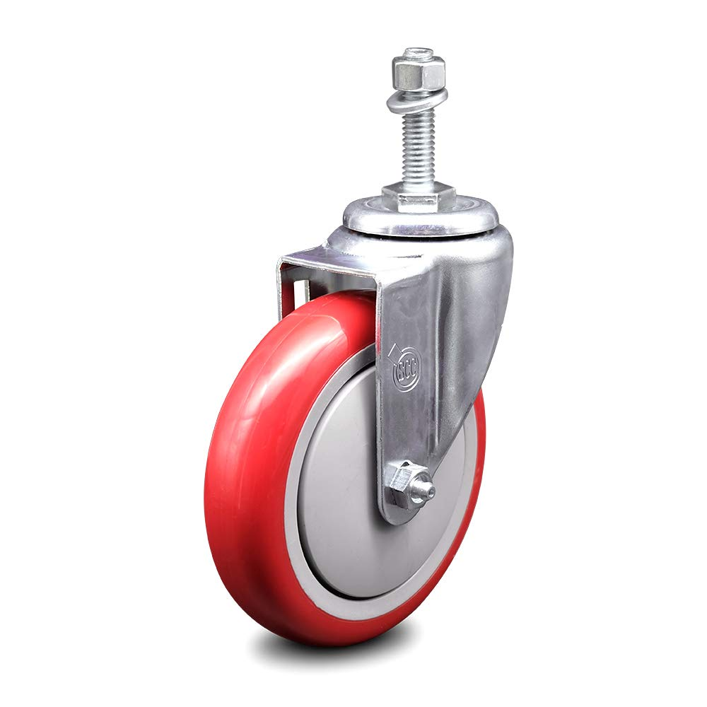 """Polyurethane Swivel Threaded Stem Caster w/5"""" x 1.25"""" Red Wheel and 3/8"""" Stem - 300 lbs Capacity/Caster - Service Caster Brand"""