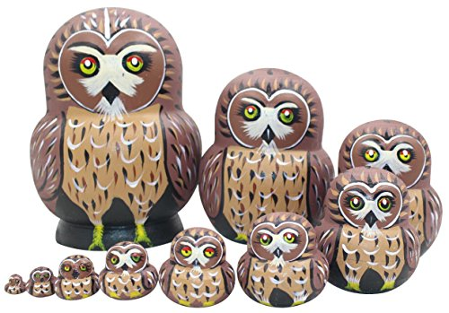 Winterworm Cute Vivid Big Belly Shape Red Round Eyes Brown Owl Handmade Wooden Russian Nesting Dolls Matryoshka Dolls Set 10 Pieces for Kids Toy Birthday Home Decoration