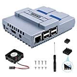 Raspberry Pi 3 B+ Case, Quimat SNES Game Console Protection Case with Cooling Fan,Screwdriver Enclosure and Heat Sinks for Raspberry Pi 2B 3B 3B+