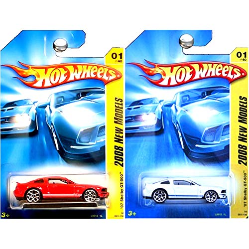 Gt500 Ford 2007 Shelby (Hot Wheels New Models 2007 Ford Mustang Shelby GT500 GT-500 Red and White Set of 2)