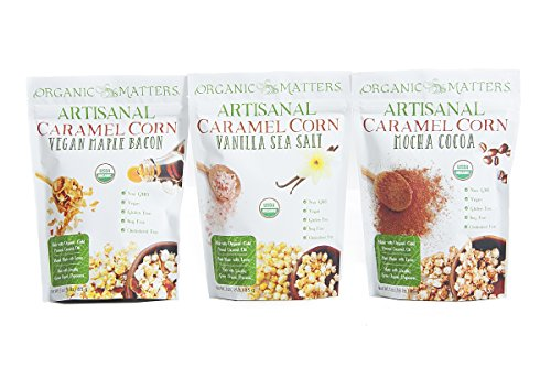Organic Matters Vegan Caramel Corn - A healthier dairy free caramel corn made with Cold Pressed Coconut Oil - USDA Organic | Non-GMO | Soy Free (Variety Pack)
