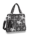 HX Rhinestone Bling Grid Messenger Shoulder Bag Purse Classic Black