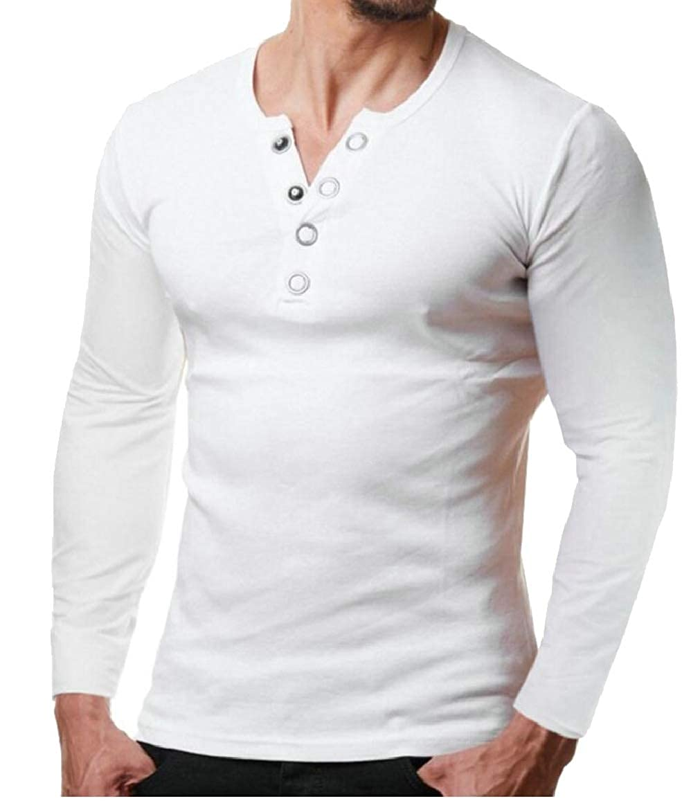 shinianlaile Mens Henley Shirt Long Sleeve Autumn Slim Fit T-Shirts with Button
