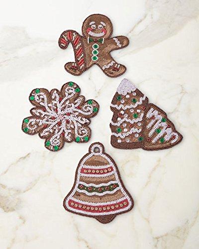 Kim Seybert Gingerbreadビーズコースター、セットの4   B07CQ9TFYT