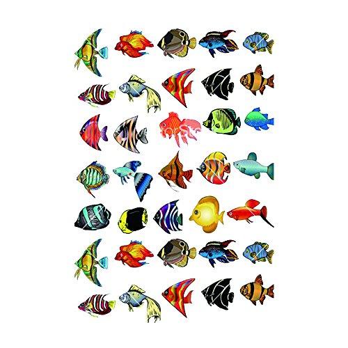 WYUEN 5 PCS Tropical Fish Women Body Temporary Tattoo Sticker Men Fake Tattoo Stickers Body Art 9.8X6cm FA-268