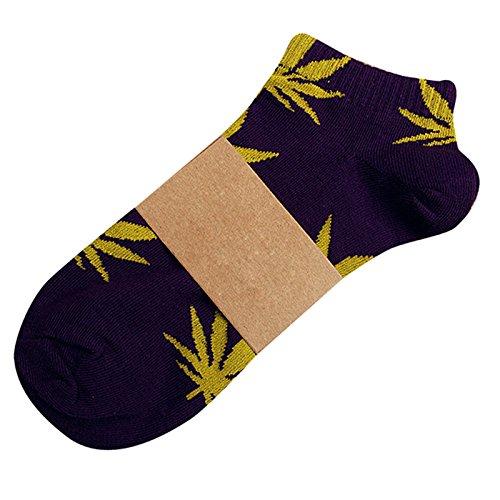 Aigorose Unisex Marijuana Weed Blad Varm Bomull Kort Båt Strumpor 3-par