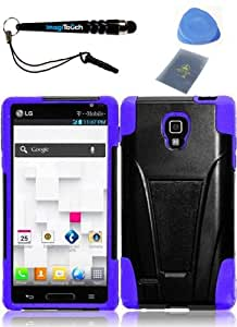 IMAGITOUCH(TM) 4-Item Combo LG Optimus L9 P769 MS769 T-Stand Cover - Black+Purple (Stylus pen, ESD Shield bag, Pry Tool, Phone Cover)