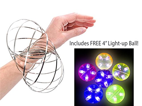 Bottles N Bags Incredible Spiral Flow Ring Kinetic Spring Toy Bracelet in Stainless Silver - Science and Educational Fun for Kids and Adults Alike - Plus FREE 4