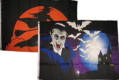 ALBATROS 3 ft x 5 ft Happy Halloween 2 Pack Flag Set Combo #59 Banner Grommets for Home and Parades, Official Party, All Weather Indoors Outdoors
