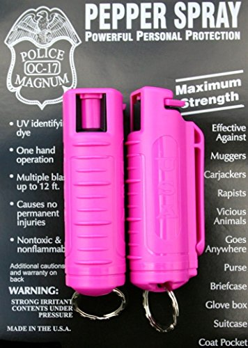 2 PACK POLICE MAGNUM MACE PEPPER SPRAY .50oz. with HOT PINK MOLDED KEYCHAIN (Hot Pink Spray Paint For Plastic)