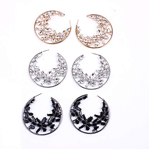 Bjzxz Ice Flower Earrings C Earrings Exaggerated Alloy Diamond-Studded Street Fashion Female Accessories