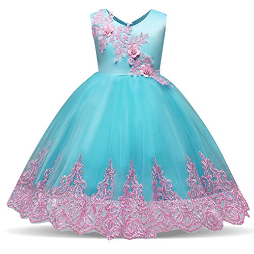 NNJXD Toddler Embroidered Tulle Chiffon Flower Girls Wedding Birthday Party Princess Formal Dresses Size (90) 13-24 Months Blue by NNJXD