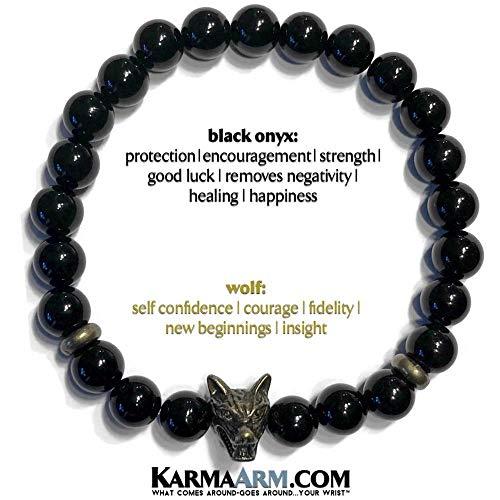 (CONFIDENCE : Black Onyx   Wolf Bracelets   Spirit Animal Wristband   Meditation Jewelry   Yoga Reiki Healing Energy   BoHo Chakra Wrap Stretch Jewelry & Zen)