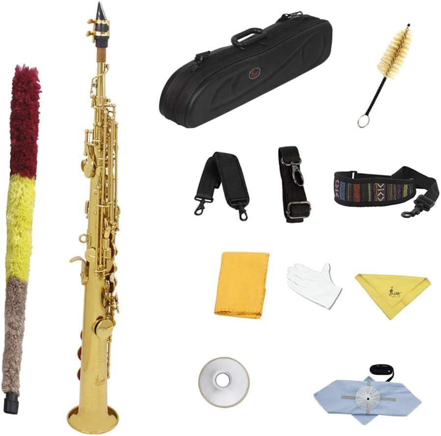 F Fityle 真ちゅう ストレート Bbソプラノサックス 木管楽器 全2選択 - ゴールデンボタン