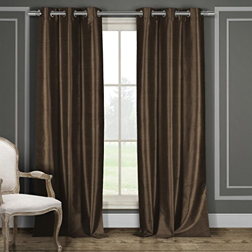 Premium Faux Silk Grommet Top Window Curtain Pair Panel Insulated Drapes For Bedroom, Livingroom ...