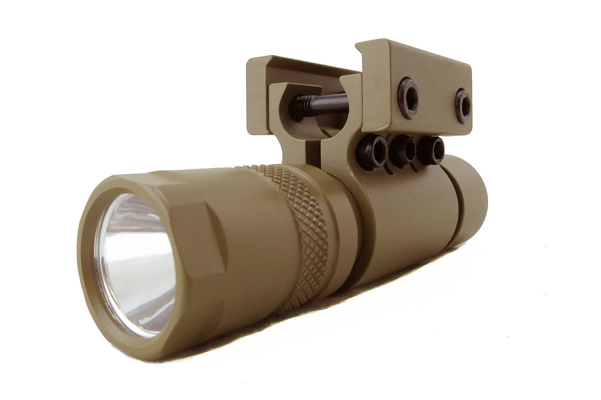 Monstrum Tactical 90 Lumens LED Flashlight with Rail Mount and Detachable Remote Pressure Switch (Flat Dark Earth)
