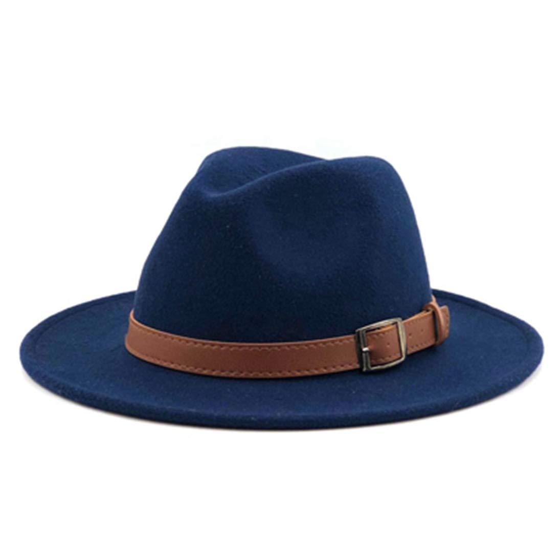 Fedora Hats Unisex Men Women Classic Timeless Wide Brim Wool Felt Trilby Jazz Cap with Black Leather Buckle Belt