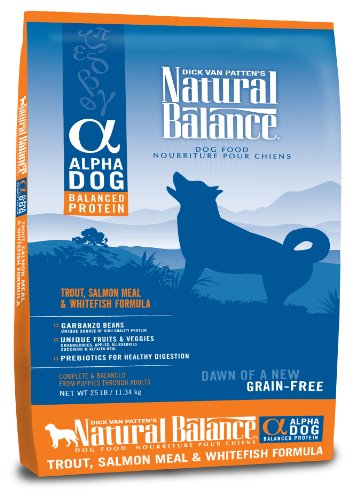 Natural Balance Alpha Grain-Free Trout, Salmon Meal, and Whitefish Formula for Dogs, 25-Pound Bag, My Pet Supplies