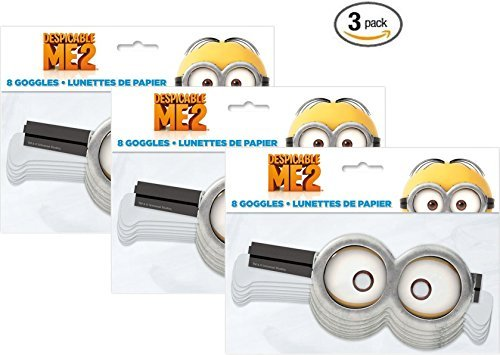 Paper Despicable Me Minion Goggles, 8ct (3 pack) ()