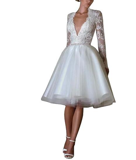 Dreamdress Women S Deep V Neck Lace Long Sleeve Short Wedding