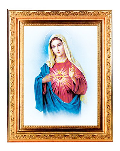 IMMACULATE HEART OF MARY Fine Art Print Antique Gold Leaf Frame 8 x 10 Italian Lithograph Fine Detailed Scroll. Exclusive Paul Herbert Copyrighted Blessing Included. BASILICA -