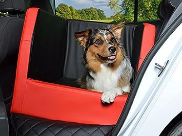 Coche cama para perros, asiento trasero - Manta, Auto ya, también en visco elástica, negro de color rojo: Amazon.es: Productos para mascotas