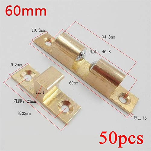 50pcs 60mm Wholesale Pure Copper Cabinet Door Catches Double Ball Latch Clip Lock Touch Beads Bronze Brass Color
