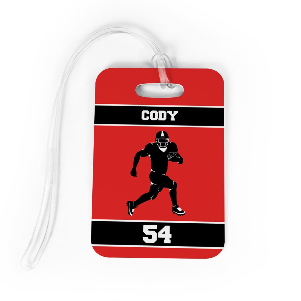 Football Luggage & Bag Tag | Personalized Football Running Back | Standard Lines on Back | MEDIUM | RED/BLACK