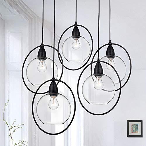 jojospring Luna Antique Black 5-Light Glass Iron Loop Pendant - Loop Pendant