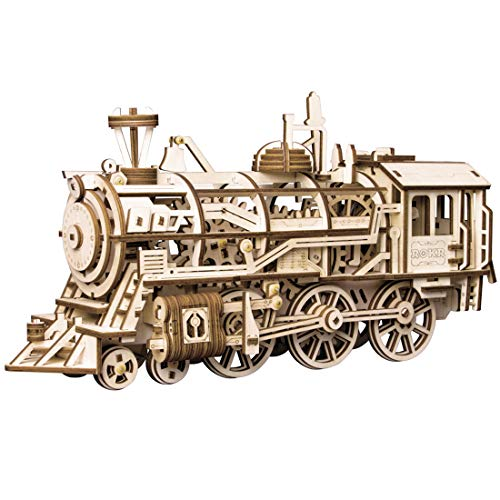ROKR 3D Wooden Puzzle-Self Propelled Mechanical Model-DIY Building Kits-Brain Teaser Games-Best Gift for Boyfriend or Girlfriend on Birthday/Anniversary/Valentines Day/Christmas(Locomotive)