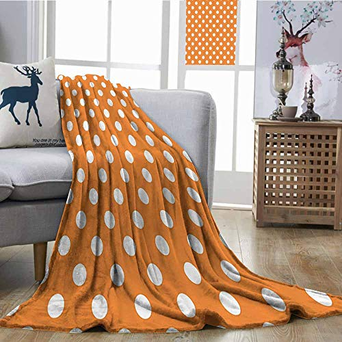 Zmcongz Digital Printing Blanket Polka Dots Home Decor Collection Classic Old Fashioned Polka Dots Continuous in Spacing and Shape 20s Design Print Digital Printing Blanket W70 xL84 Orange White ()