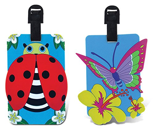 PUZZLED TAGGAGE! BUTTERFLY AND LADYBUG LUGGAGE TAG 3.5X5 INCH ()